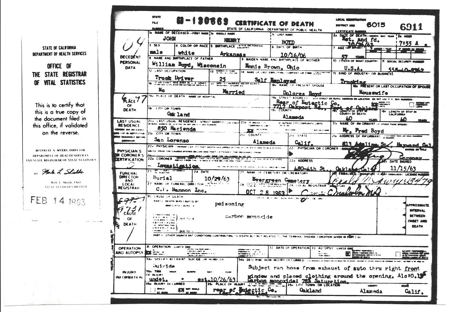 Birth marriage and death certificates related to the william john boyds death certificate xflitez Choice Image