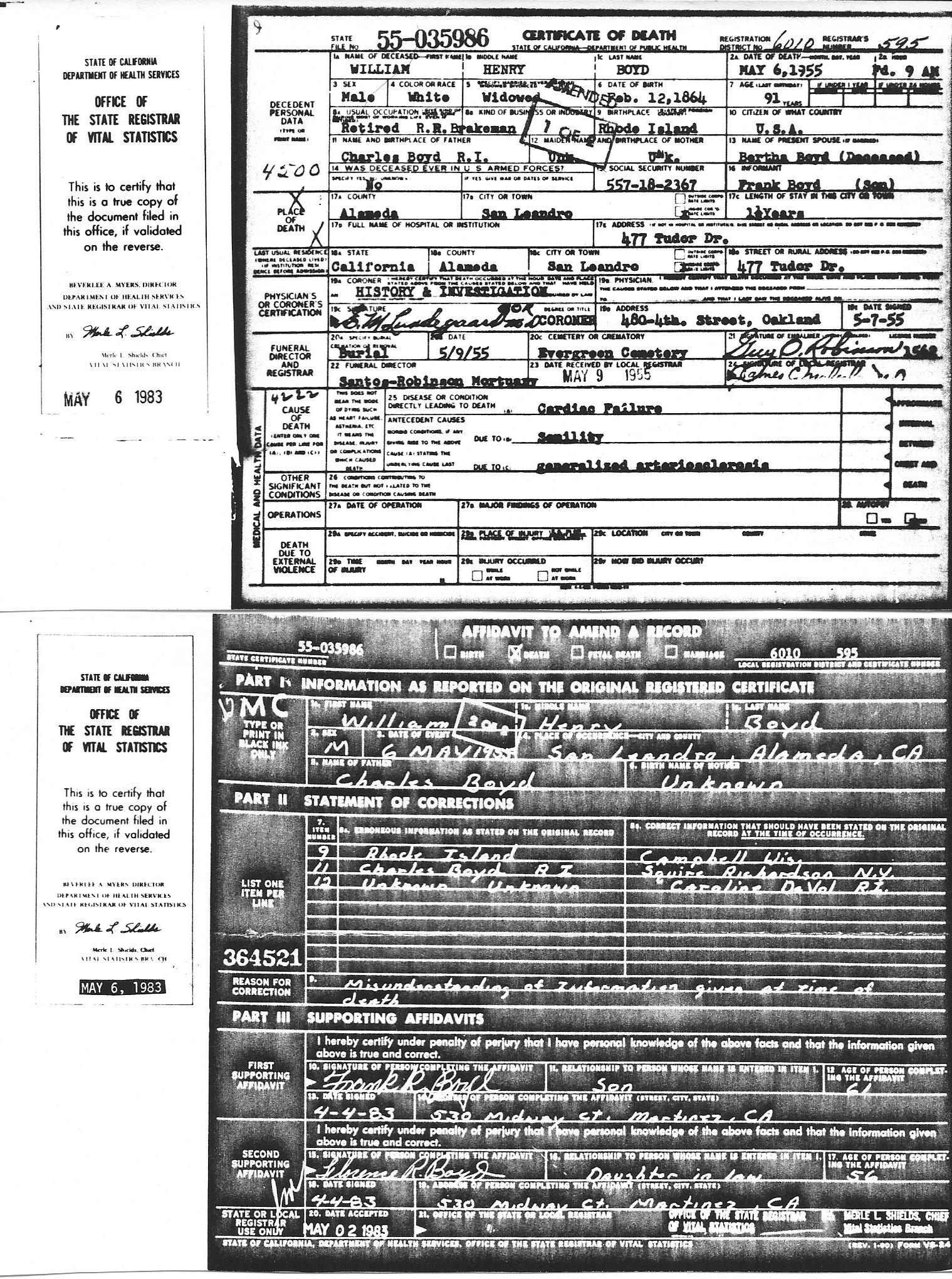 Birth marriage and death certificates related to the william death certificate with amendment for william henry boyd xflitez Choice Image